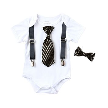 New Years Eve Outfit Baby Boy Black and Gold Bow Tie and Suspenders Onesuit