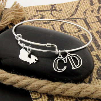 Love Canada Expandable Bangle Bracelet STERLING SILVER Personalized Initial Charm Adjustable bracelet Best friend gift adjustable bangle