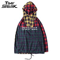 Patchwork Pullover Plaid Long Sleeve Hoodies Shirts Men Hip Hop Zipper Pocket Casual Shirts Fashion Street wear