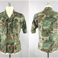 1980s Vintage Camouflage Shirt / US Army Fatigues / ERDL Woodland Camo / Special Forces Camo / US Army Camouflage / Erdl Blouse / Small 38