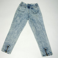 1980s acid wash jeans, Bodigi blue denim pants, zip up bow ankle jeans, high waist jeans, Small, 6