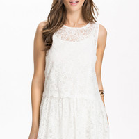 White Sleeveless Drop-Waisted Floral Lace Overlay Skater Dress