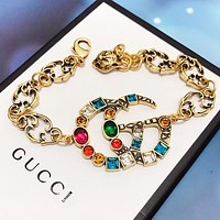 GUCCI Fashion New Multicolor Letter Chain Bracelet Women Accessory Golden