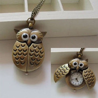 Hot New Unisex Vintage Slide Owl Pendant Long Necklace Pocket Watch Gift = 1946999492