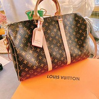 Louis Vuitton LV Classic Men Women Leather Large Capacity Luggage Bag Travel Bag Tote Handbag