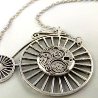 Silver Geared Steampunk Penny Farthing Necklace by angelyques