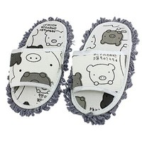 Dust Floor Cleaning Mopping Slippers Shoes Pair White Dark Gray