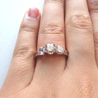 Three Stone Cubic Zirconia Diamond Ring - Rose Gold and Silver
