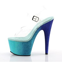 "Adore 708 Ombre Blue Aqua Glitter Blend Effect Platform 7"" High Heel Shoe"