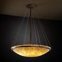 Justice Design Group ALR-9694-35-DBRZ-LED-6000 Alabster Rocks! 36-Inch Round Bowl 6000 Lumen LED Pendant with Ring