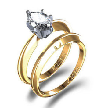 Oval Cut Engagement Ring Wedding Set in 14k Yellow Gold