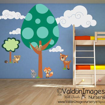 Egg tree forest wall decal, nursery decals, nursery wall decal, kids wall decal, nursery decor, animal wall decal, fox wall decal, fox decor