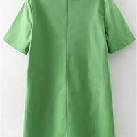 Green Short Sleeve Shift Dress with Pockets