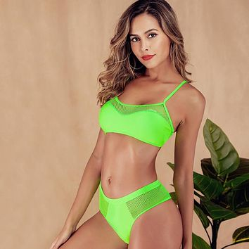 Beach Wear Green Mesh Swimming Suit Sling Padded Bikini Sport Tankini Ladies Bikini Swimwear