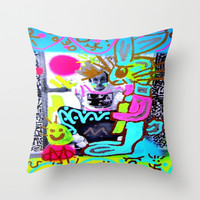 KEITH HARING MAZUNI'D BUNNY STYLEE Throw Pillow by MADAME MAZUNI