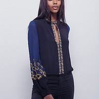 Free People Womens Midnight City Embroidered Top