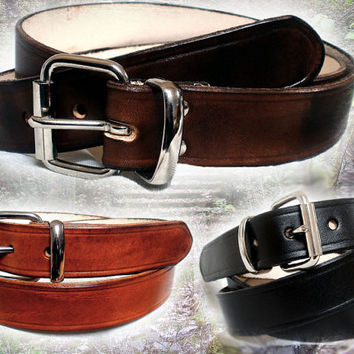 """Black leather belt, men, 1 1/4"""", strong buckle and loop, brown leather belt or tan, custom sizes"""
