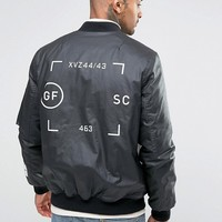 ASOS Bomber Jacket In Waxed Cotton With Print at asos.com