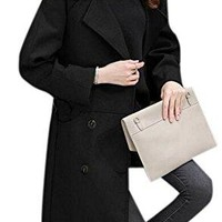 Women's Fashion Long Lapel Overcoat Double-Breasted Wool Pea Trench Coat