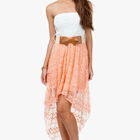 A'GACI Patterned Lace Hi Lo Dress W/ Bow Belt - DRESSES