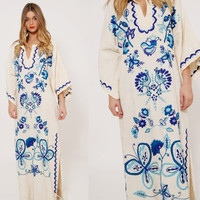 Vintage 70s EMBROIDERED Mexican Dress Peacock & Butterfly Caftan ANGEL Sleeve Cotton Caftan Hippie Maxi Dress