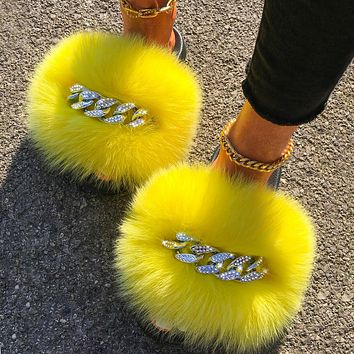 Fox Sandals Furry Fur Slippers Fluffy Flip Flops Diamond Chain Real Fur Slides For Women Ladies House Slippers Beach Flat Shoes