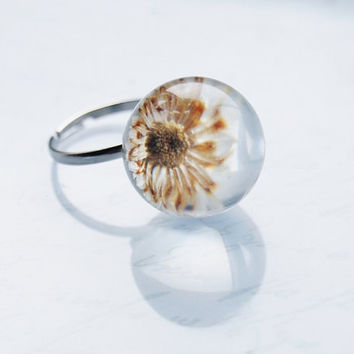 Mini Daisy Ring Pressed Flower Real Flower Resin Ball Orb Globe Pressed Flower Jewelry Crystal Clear Petite Dainty Gift for Her