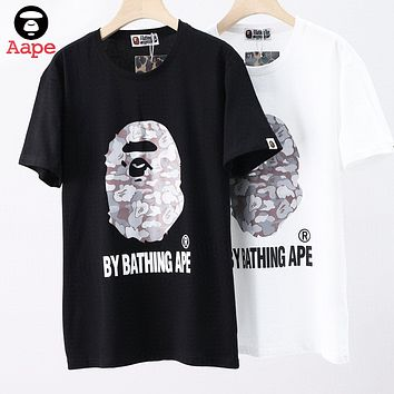 AAPE BAPE Fashionable Women Men Casual Logo Print T-Shirt Top Blouse