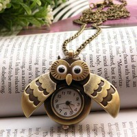Retro copper owl eyes wings can open pocket watch necklace pendant jewelry vintage style