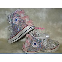 White High Top Sequin Pink Bow Sparkled AB Rhinestones Chucks