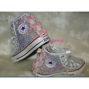 Converse White High Top Sequin Pink Bow Sparkled AB Rhinestones