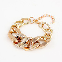 Gold Plated Alloy Dotted Chain Bracelet