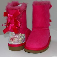 LUXURY UGG Baily Bow for kids boots w Swarovski Elements - Luxury CUSTOM MADE