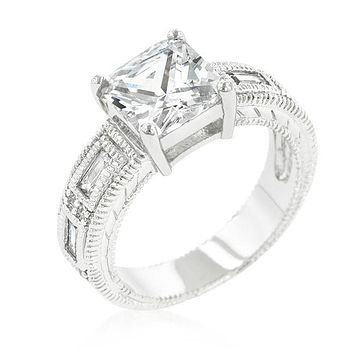 Halle Art Deco Princess Cut Solitaire Engagement Ring | 3.8ct | Cubic Zirconia