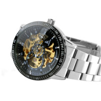 Men's Auto-Mechanical Skeleton Steel Band Wrist Watch