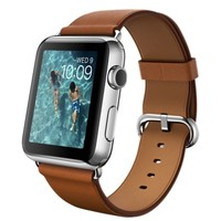 Apple Watch - 42mm Stainless Steel Case with Saddle Brown Classic Buckle
