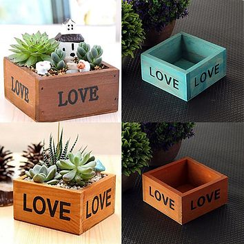 Cute Love Letter Printed Wooden Box Container Succulent Planting Pot Photo Prop