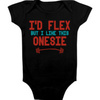 FUNNY BABY Onesuit 'I'D FLEX' [BLACK] CUTE BABY STUFF BABY CLOTHES CUSTOM BABY CLOTHES