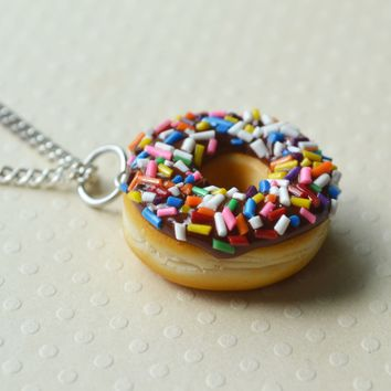 Chocolate Frosted with Rainbow Sprinkles Doughnut Necklace, Polymer Clay Food Necklace