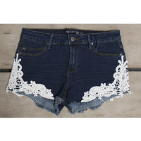 Denim Days Crochet Side Detail Dark Wash Denim Shorts