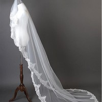 [18.99] In Stock Beautiful Ivory Tulle Cathedral Wedding Veil With Lace Appliques - dressilyme.com