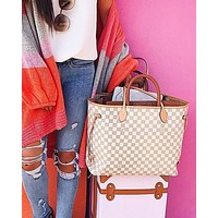 Louis Vuitton LV Shopping Leather Tote Handbag Shoulder Bag Purse Wallet Set Two-Piece White Tartan