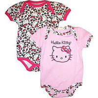 Hello Kitty Girls 2 Pack All Over Print and Solid with Leopard Accent Bodysuits