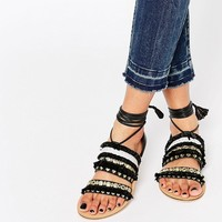 ASOS FUNFAIR Tie Leg Flat Sandals