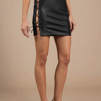 End Game Faux Leather Mini Skirt