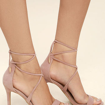 Aimee Dusty Rose Suede Lace-Up Heels