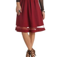 Organza Cut-Out Full Midi Skirt by Charlotte Russe - Wine