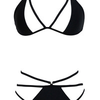 Black Halter Triangle Cut-Out Bikini