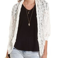 Pointelle Cocoon Cardigan Sweater by Charlotte Russe