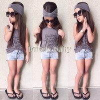 Girls 3 PC Outfit Denim Shorts + Sleeveless Shirt and Headband